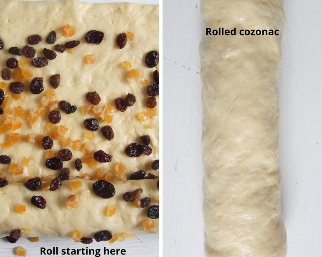 how to fill a yeast roll with dried fruit