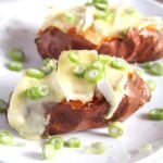 jackets with melting camembert and green onions
