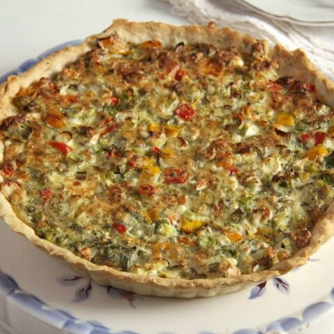 Easy Quiche with Cheese and Green Onions