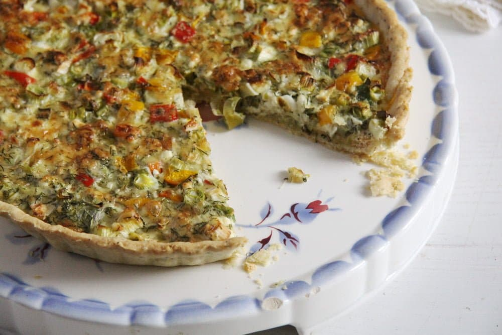 easy quiche with cheese and spring onions