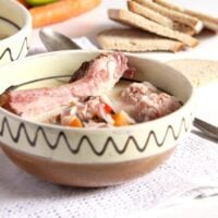 romanian meatball soup in a traditional bowl