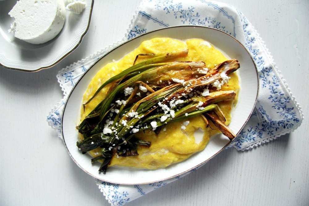 Roasted Green Onions on Creamy Polenta