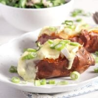 roasted stuffed potatoes with melting camembert