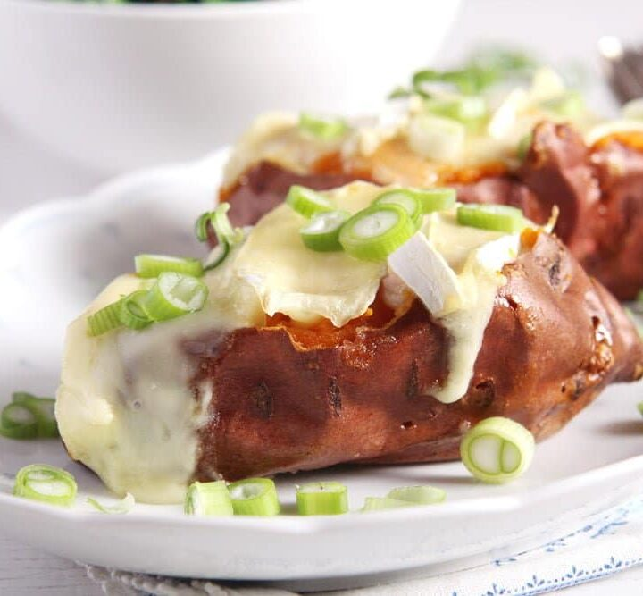 jacket sweet potatoes topped with camembert and green onions