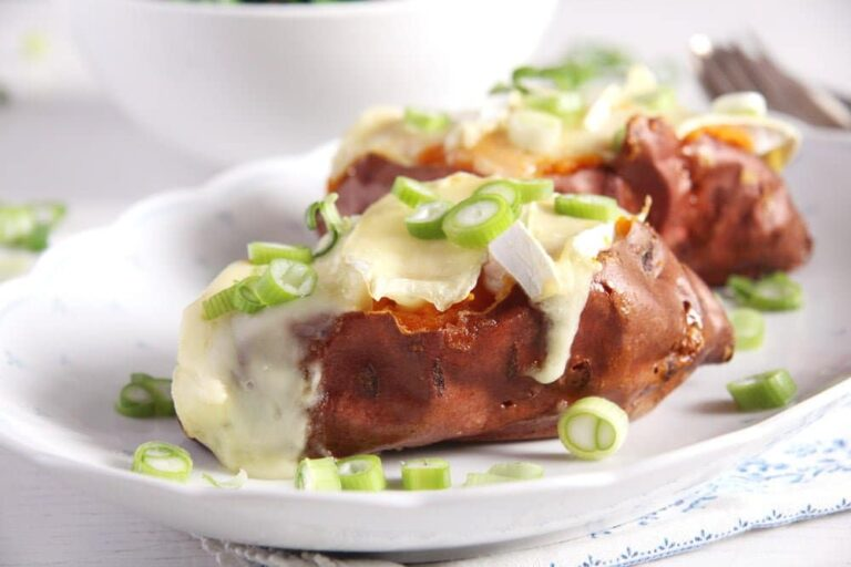 sweet potatoes cheese 768x512 Baked Sweet Potatoes with Camembert and Green Onions