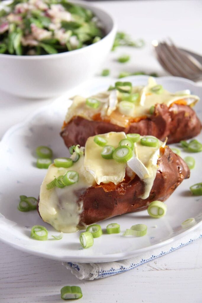 sweet potatoes green onions 683x1024 Baked Sweet Potatoes with Camembert and Green Onions