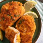 close up cordon bleu schnitzel with potatoes.