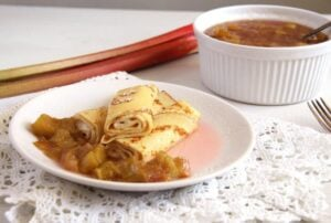 crepes compote rhubarb 300x202 Crepes with Rhubarb Compote