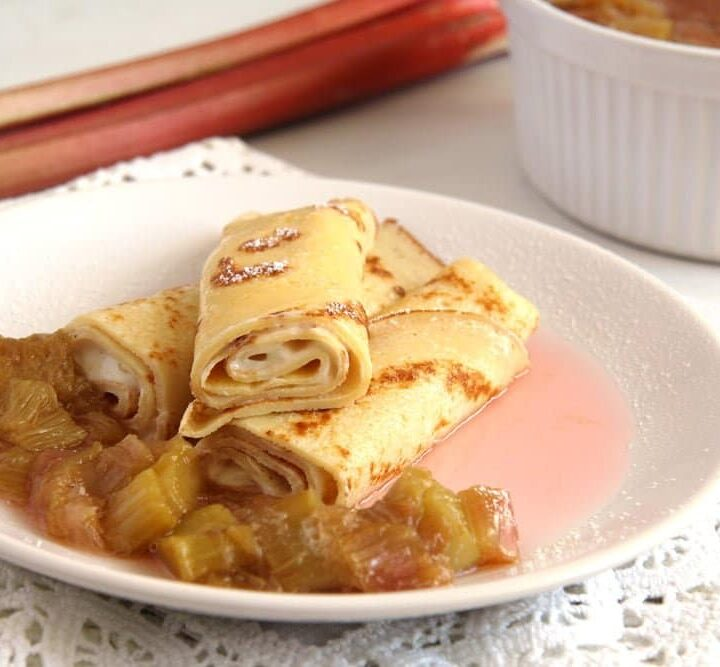 rolled french thin pancakes with creme fraiche