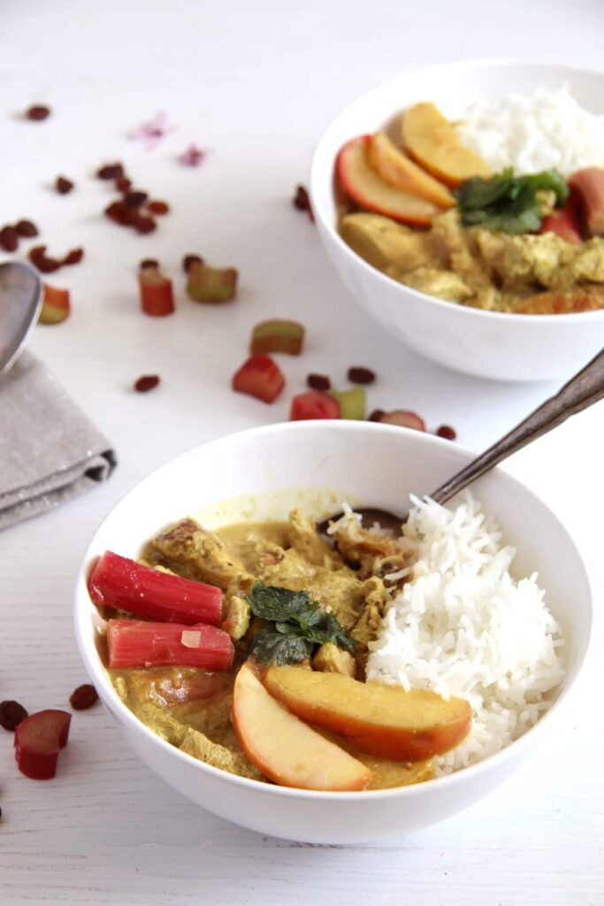 rhubarb chicken apple 683x1024 Chicken Green Curry with Rhubarb, Coconut Milk and Raisins