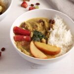 rhubarb chicken raisins 150x150 Chicken Green Curry with Rhubarb, Coconut Milk and Raisins