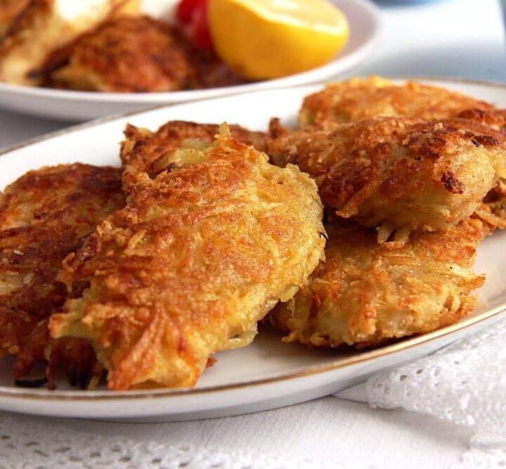 crispy chicken schnitzel with potato crust