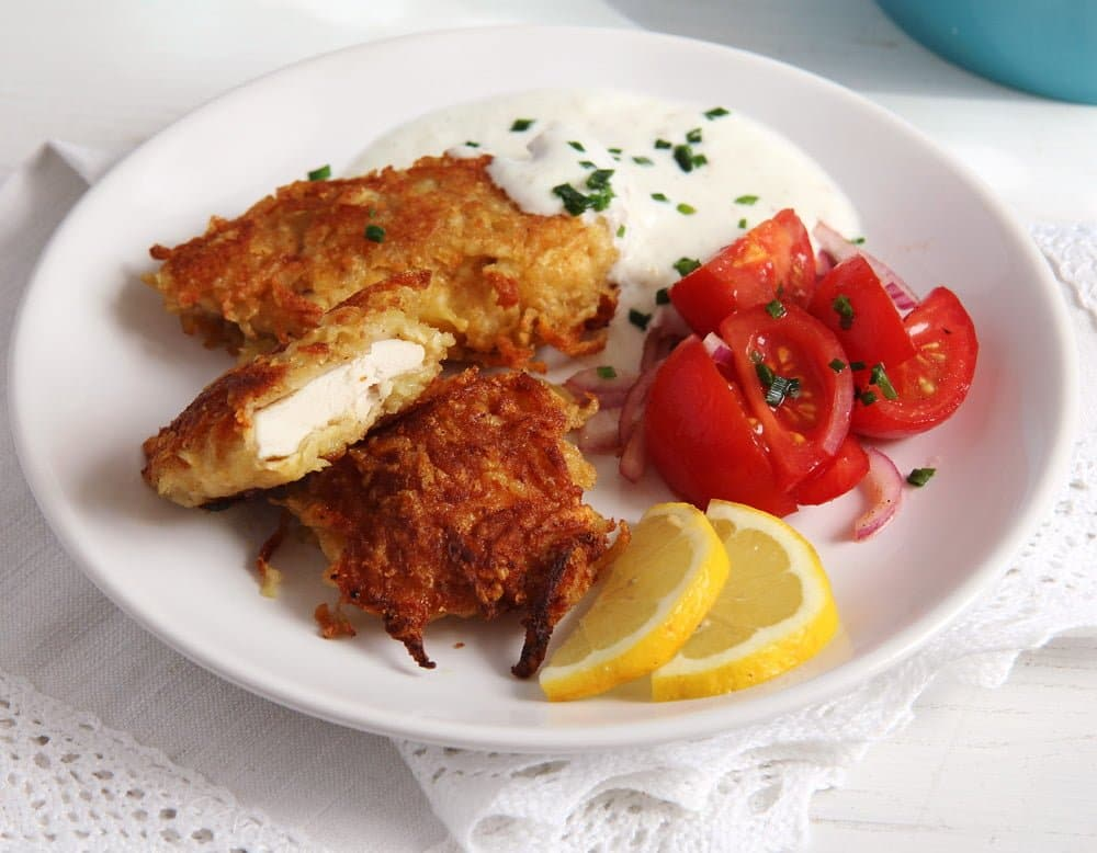 schnitzel potato garlic sau Tender Chicken Schnitzel in a Crispy Pancake Batter   Romanian Recipe