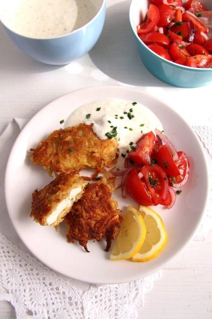 schnitzel potatoes 683x1024 Chicken Schnitzel with Potato Parmesan Crust, Yogurt Dip and Tomato Salad