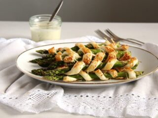 asparagus puff pastry twists on a serving platter