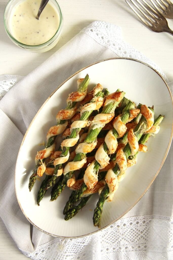 crispy asparagus spirals wrapped in puff pastry