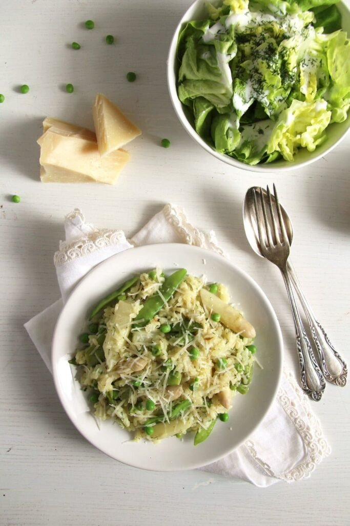 asparagus risotto salad 683x1024 Creamy Asparagus Risotto with Peas, Dill and Parmesan