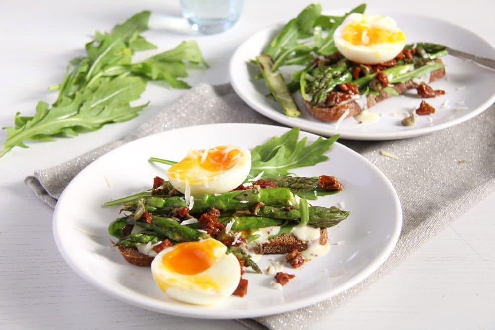 asparagus sandwich mayonnai Asparagus Soft Boiled Egg Toast with Parmesan and Capers
