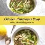 chicken soup with asparagus, peas and leeks