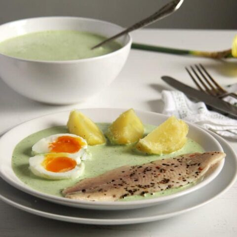 german green sauce with boiled eggs and potatoes