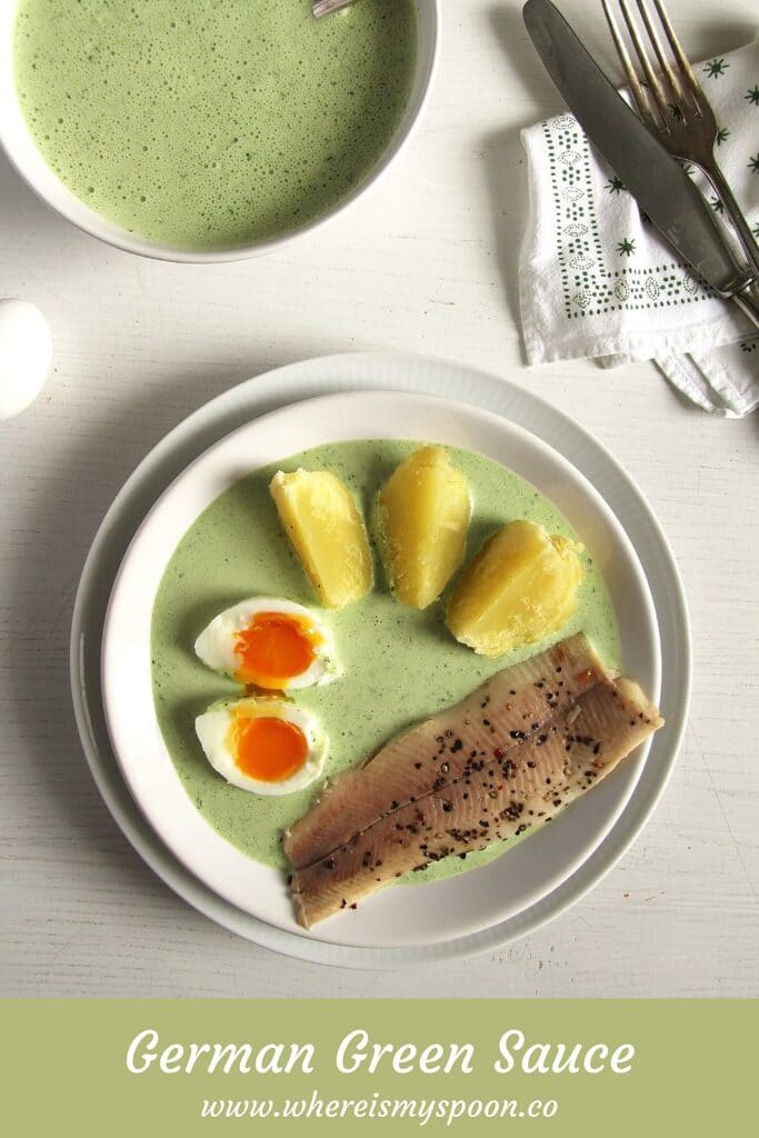 german sauce with herbs in a bowl and on a plate