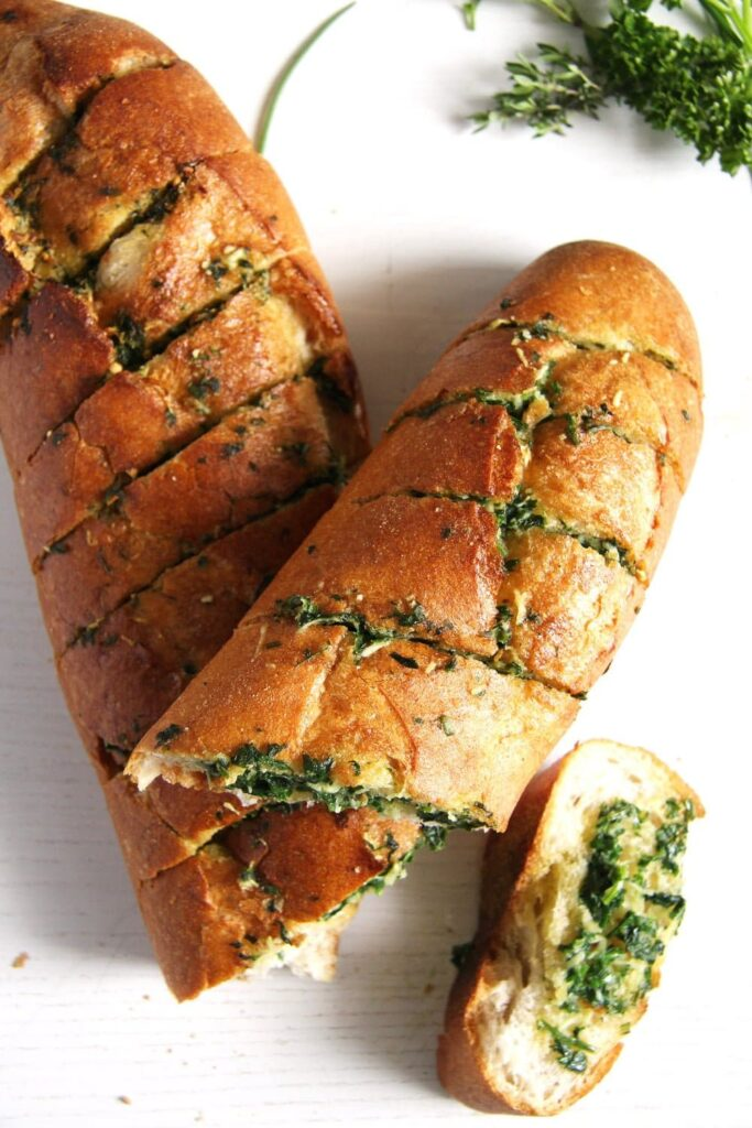 herb and garlic bread homemade on the table