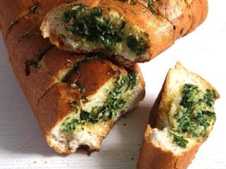 homemade herb french baguette with garlic butter
