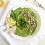 plate with green vegan dip with sunflower seeds and wild garlic
