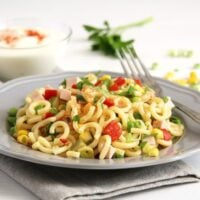 german pasta salad with gherkins on a plate