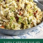 napa cabbage salad with ramen noodles in a bowl