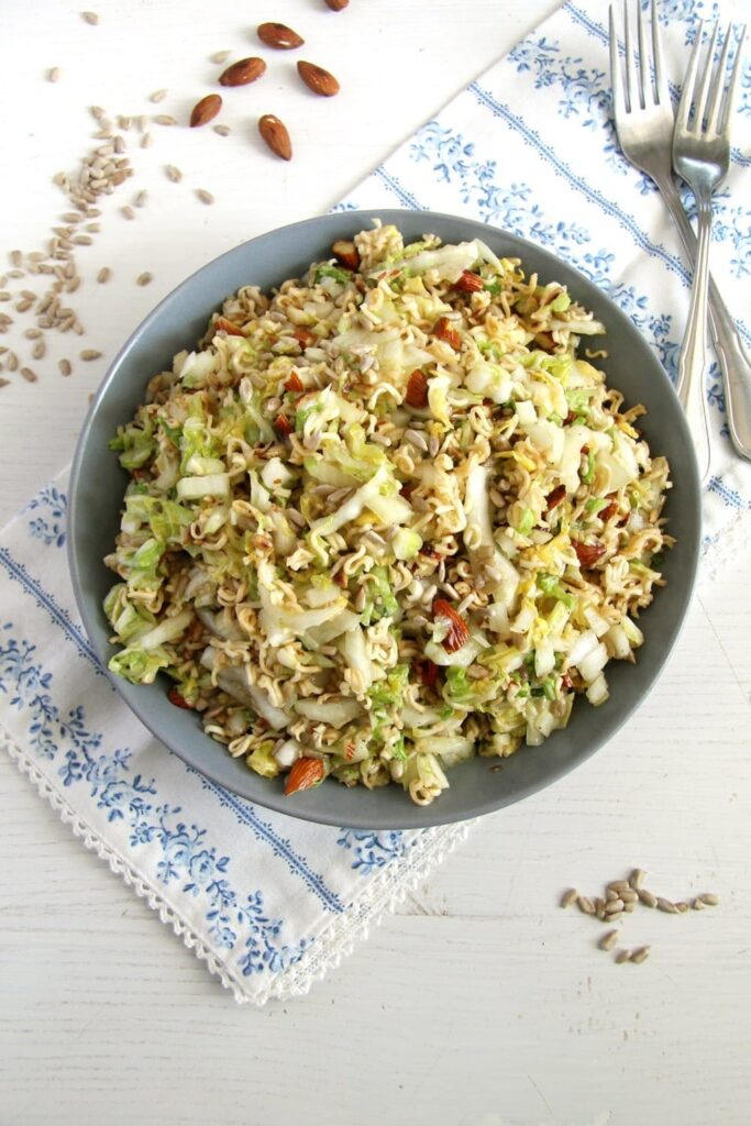 ramen noodle 683x1024 Ramen Noodle Napa Cabbage Salad with Sunflower Seeds