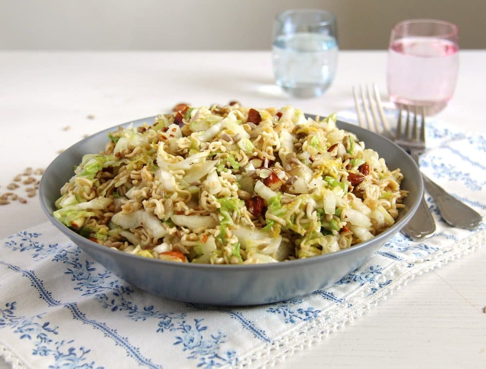 bowl of noodle salad with cabbage