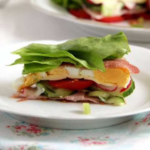 salad cake with ham and cheese