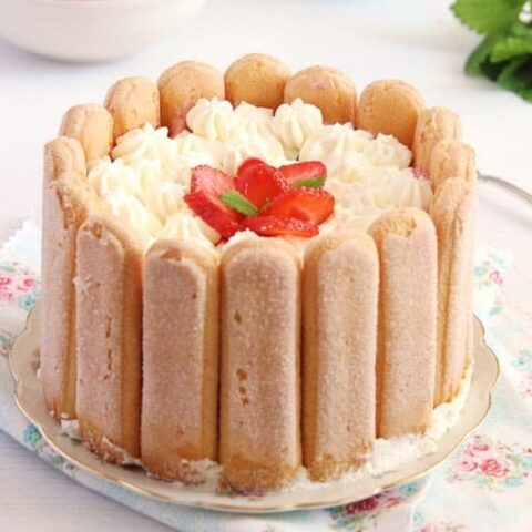 cake surrounded by ladyfingers and topped with cream