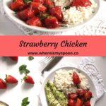 chicken and strawberry chutney being served