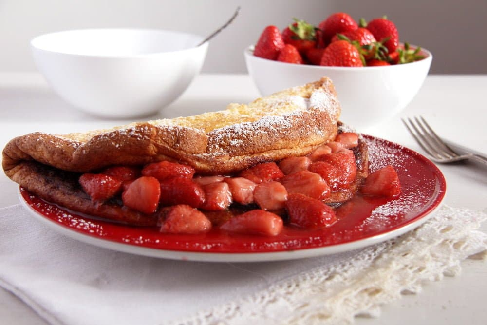 Oven Pancakes with Strawberry Sauce