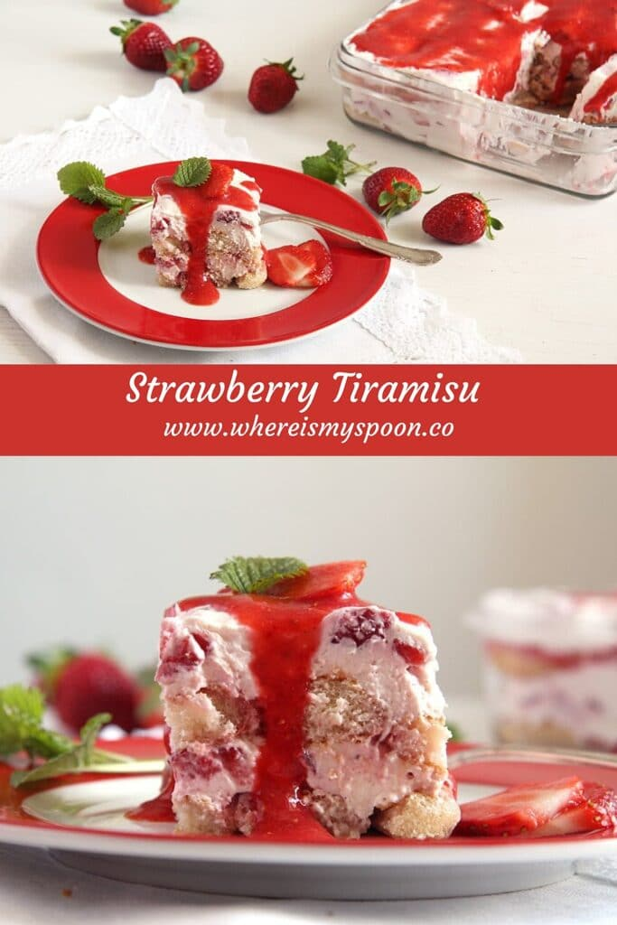 dessert with strawberries, mascarpone and ladyfingers on a red plate