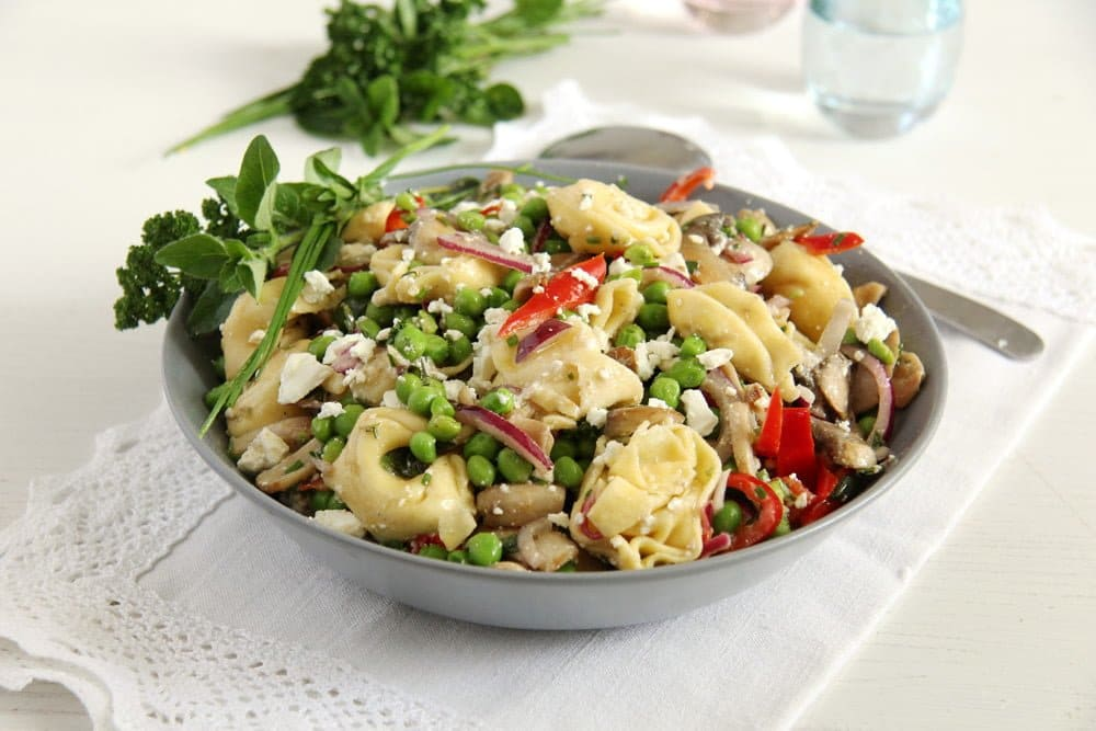 german salad with tortellini and vegetables