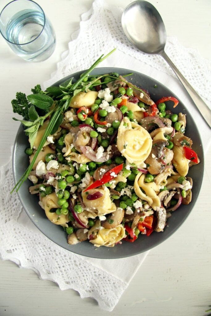 tortellini salad mushrooms 683x1024 Tortellini Salad Recipe   German Salad