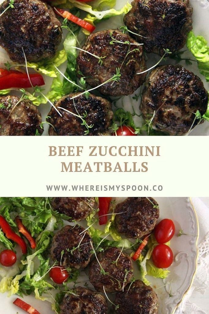 zucchini beef meatballs on a serving plate