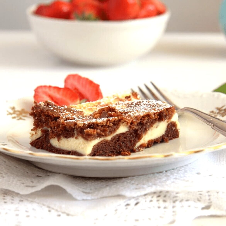 philadelphia cream cheese brownies served with fresh strawberries