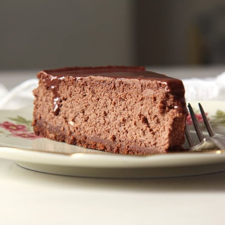 slice of double chocolate cheesecake