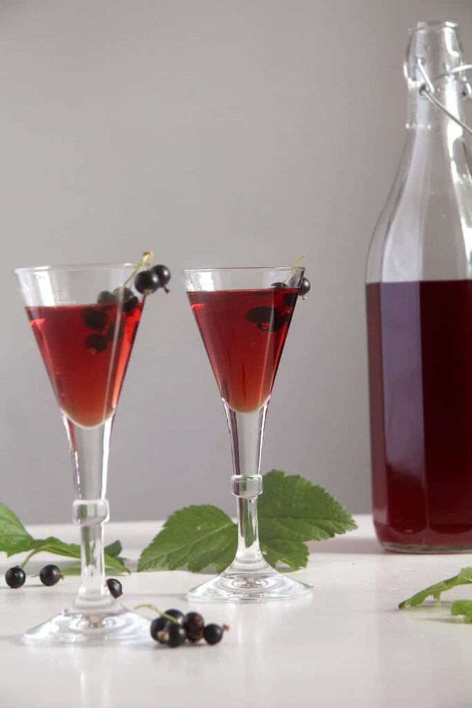 homemade black currant liqueur or cassis preserved in a bottle