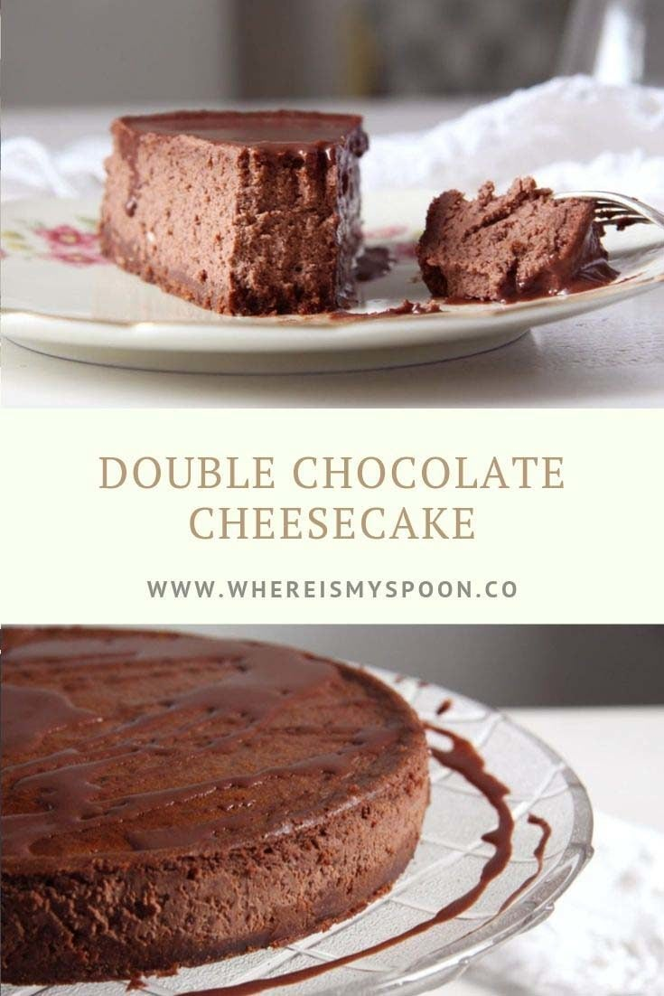 Nigella Lawson's chocolate cheesecake, a double chocolate cake delight that will impress all your guests. #whereismyspoon #nigellalawsonrecipes #chocolatecheesecakerecipe #doublechocolatecheesecake