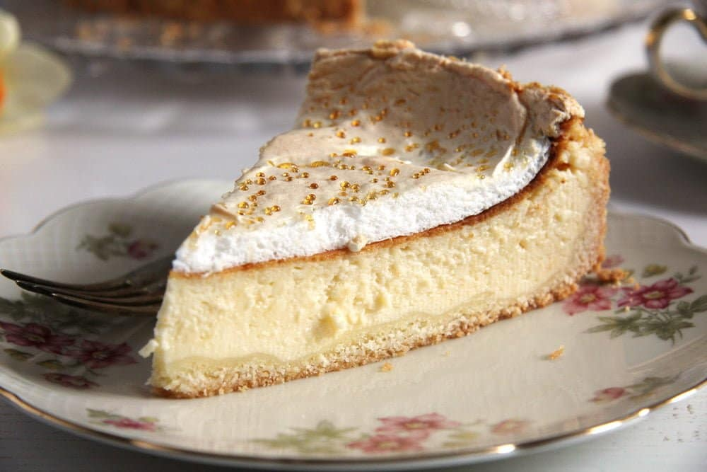 german cake cheese German Cheesecake with Low Fat Quark and Meringue Topping
