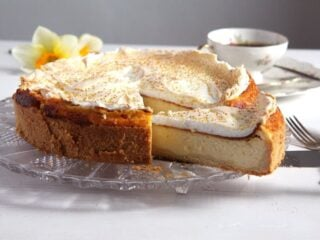 sliced german cheesecake with meringue topping