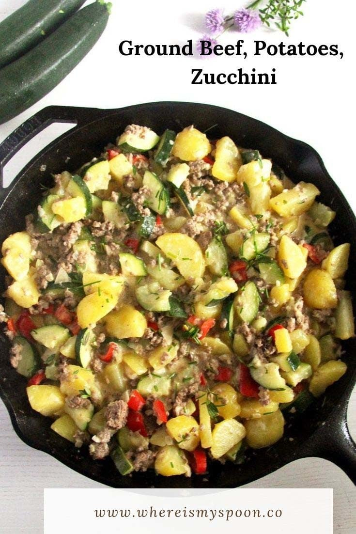 A ground beef and potato skillet with zucchini, an easy, quick to make and super comforting meal. #whereismyspoon #groundbeefpotatoes #groundbeefzucchini #skilletrecipes #groundbeefskillet