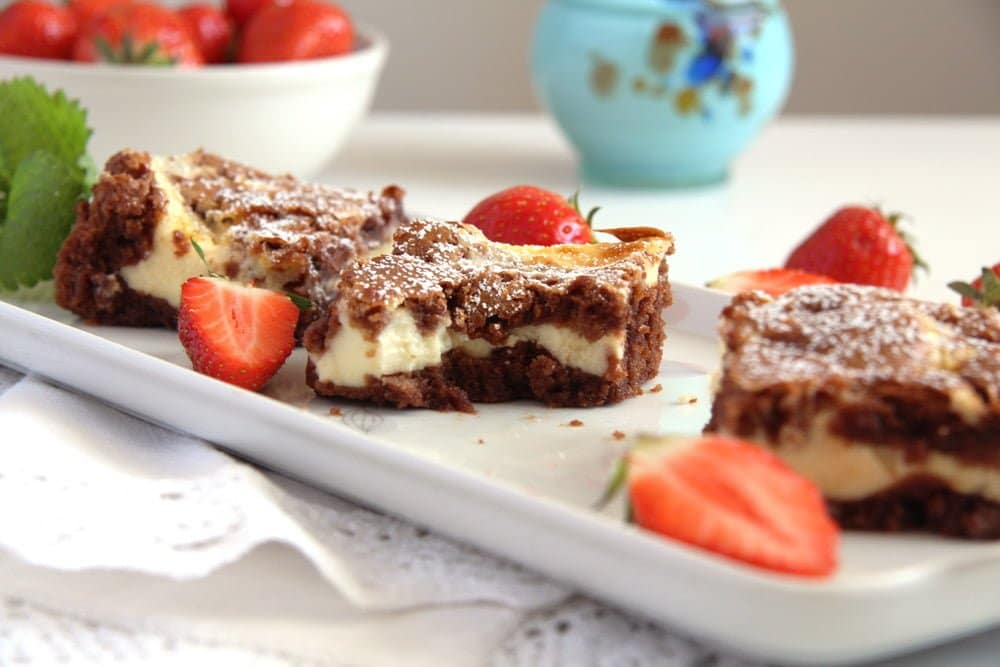 marbled cake cheese Cheese Cake Brownies with Chocolate and Cream Cheese