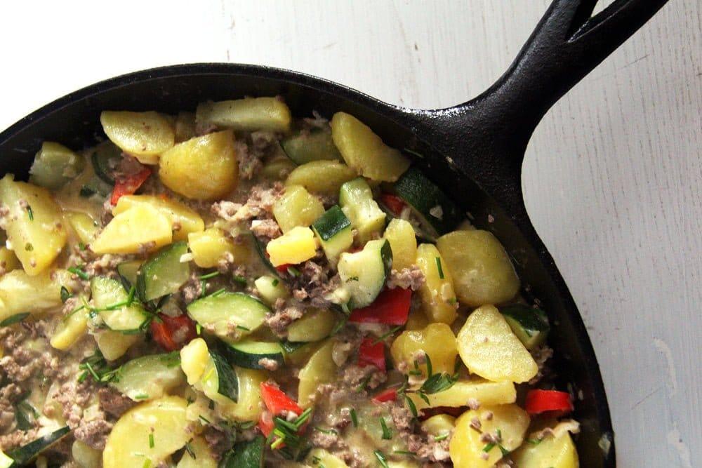 zucchini potato beef Zucchini Beef Skillet with Potatoes and Garlic