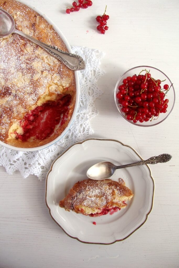 red currant casserole 683x1024 Easy Red Currant Cobbler with Almonds